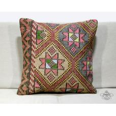 "Cottage Chic Turkish Large Kilim Jijim Pillow 20x20"" Ethnic Floor Cushion Cover"
