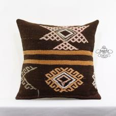 "Handembroidered Kilim Pillow 20x20"" Large Turkish Kelim Rug Ethnic Cushion Cover"