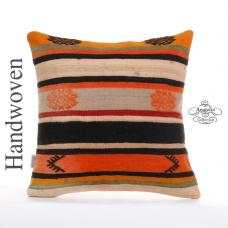 "Bohemian Colorful Pillow Cover 20x20"" Kilim Cushion Sham Turkish Rug Pillowcase"