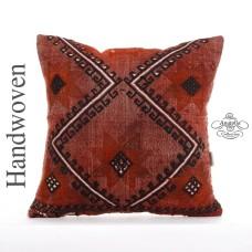 "Designer Large Kilim Pillow 20x20"" Embroidered Anatolian Kelim Rug Cushion Cover"