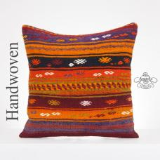 "Embroidered Large Kilim Rug Pillow 20x20"" Tribal Kelim Cushion Cover Turkish Ethnic Pillowcase"