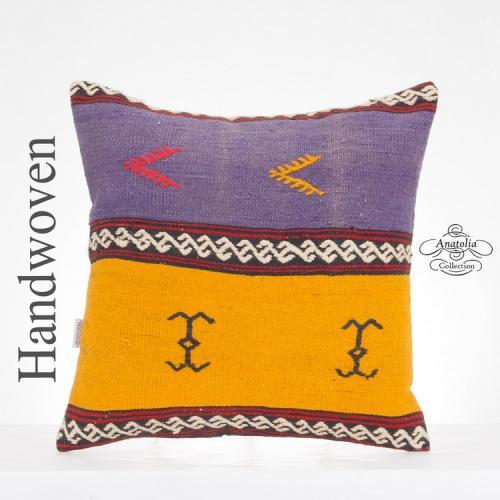 "Vintage Anatolian Kilim Pillow 20x20"" Large Turkish Kelim Pillowcase"