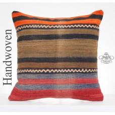 """Vintage Rug Pillow 20"""" Large Kilim Pillowcase Striped Sofa Floor Throw"""