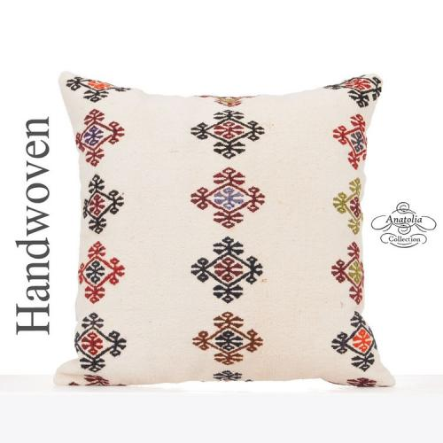 Large Shabby Cottage Throw Pillow Embroidered Turkish Kilim Cushion