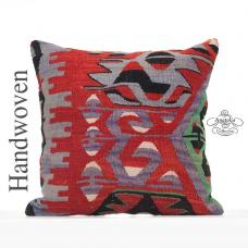 Tribal Decorative Large Pillow 20x20 Anatolian Geometric Kilim Cushion