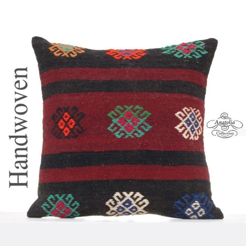 "Embroidered Large Kilim Pillow 20x20"" Ethnic Sofa Couch Floor Throw"