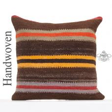 "Vintage Striped Large Throw Pillow 20x20"" Browns Turkish Kilim Cushion"