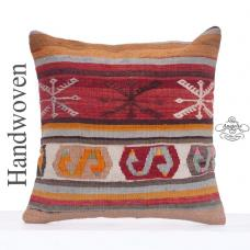 "Anatolian Decorative Kilim Pillow 20x20"" Large Nomadic Rug Floor Throw"
