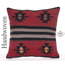 "Anatolian Star Motif Kilim Pillow 20x20"" Tribal Designer Rug Cushion"