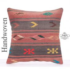 "Embroidered Vintage Kilim Rug Pillow 20"" Nomadic Turkish Kelim Cushion"