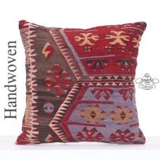 Oriental Large Kilim Pillow 20x20 Anatolian Decorative Floor Cushion