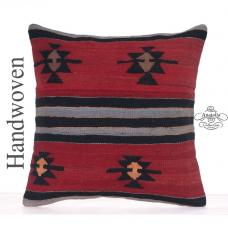 Retro Decorative Kilim Pillow 20x20 Anatolian Star Motif Large Cushion