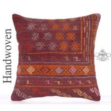"""Vintage Embroidered Kilim Throw Pillow 20x20"""" Retro Decorative Cushion"""