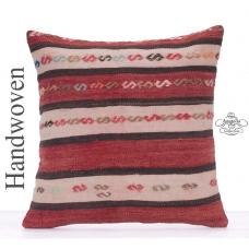 Embroidered Retro Cushion 20x20 Large S Hook Design Kilim Rug Pillow