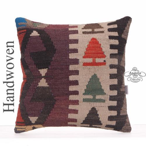 "Anatolian Large Kilim Throw Pillow 20x20"" Ethnic Turkish Rug Cushion"