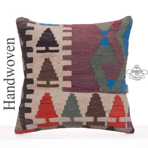 "Colorful Anatolian Kilim Pillow 20x20"" Handmade Interior Decor Throw"