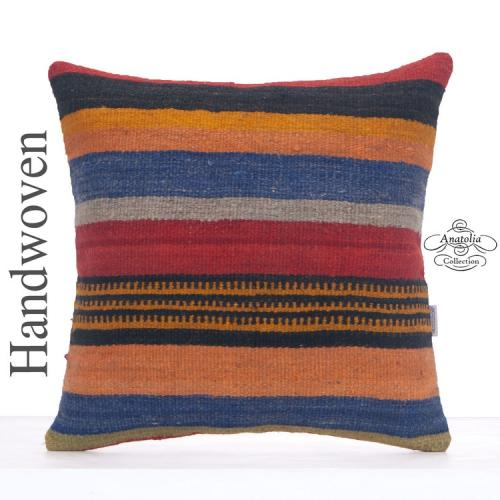 "Colorful Large Kilim Rug Pillowcase 20x20"" Striped Turkish Kelim Throw"