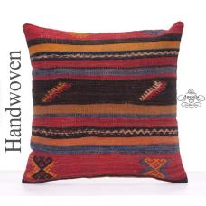 "Colorful Old Kilim Rug Pillowcase 20x20"" Large Striped Throw Pillow"