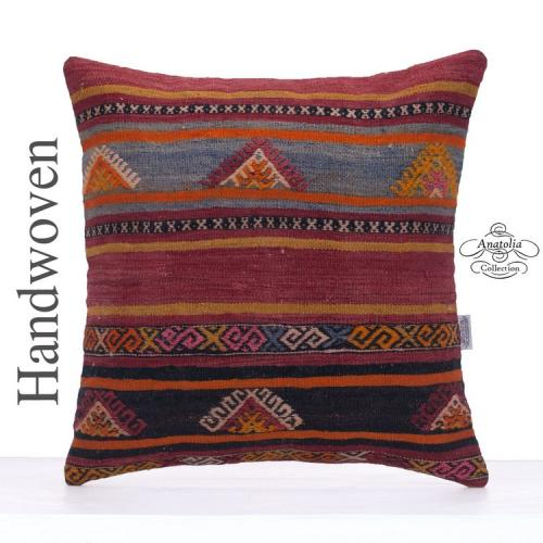 "Contemporary Kilim Pillow 20x20"" Designer Vintage Decorative Cushion"