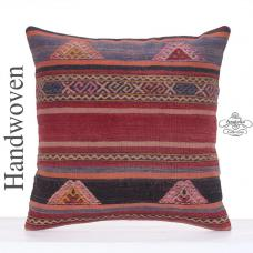 "Embroidered Vintage Kilim Pillow Cover 20x20"" Anatolian Rug Cushion"