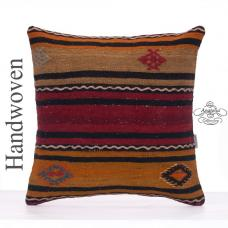 "Ethnic Decorative Throw Pillow Cover 20"" Striped Turkish Kilim Cushion"