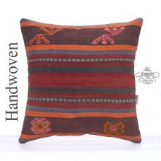 Ethnic Kilim Pillow Cover 20x20 Large Tribal Turkish Kelim Rug Cushion