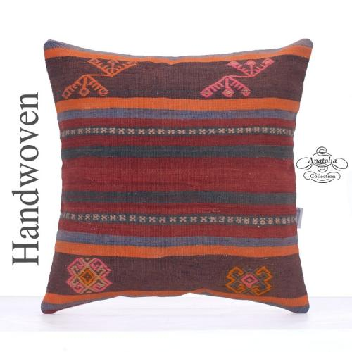 Ethnic Kilim Pillow Cover 20x20 Large Tribal Turkish Kelim Rug Cushion