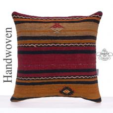 "Large Striped Kilim Cushion Cover 20x20"" Vintage Turkish Kelim Pillow"