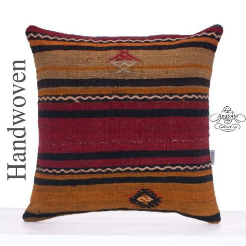 "Large Striped Kilim Cushion Cover 20x20"" Vintage Turkish Kelim Pillow"