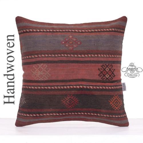 "Old Vintage Kilim Throw Pillow 20x20"" Shabby Turkish Kelim Rug Cushion"