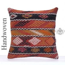 Retro Interior Decor Pillow 20x20 Embroidered Turkish Kilim Pillowcase