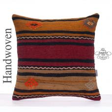 "Striped Hand Woven Decorative Pillow Cover 20x20"" Large Retro Cushion"