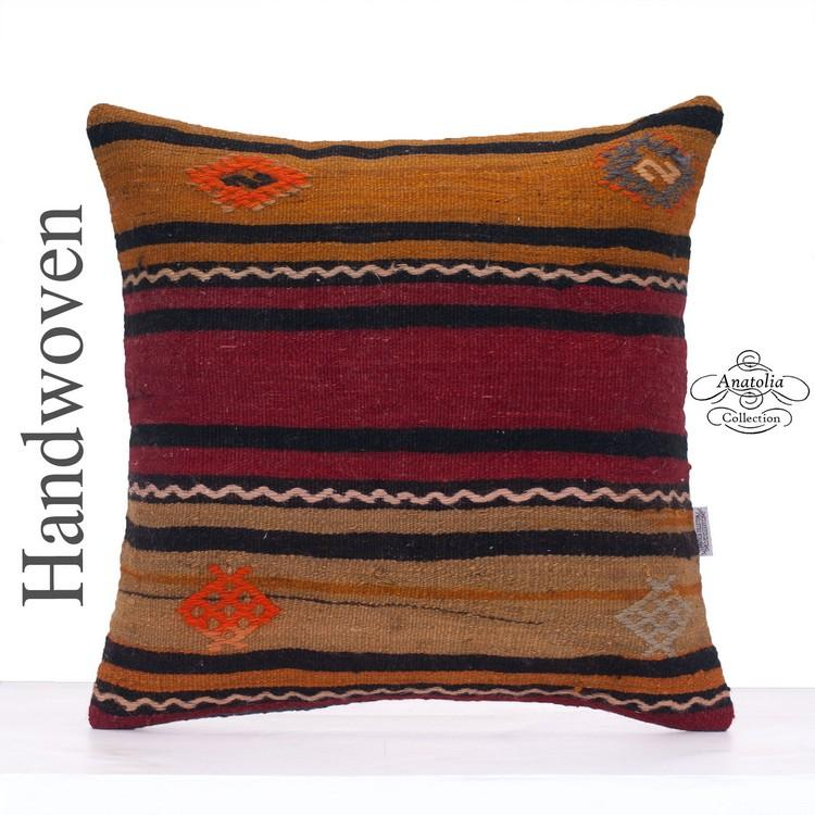Striped Hand Woven Decorative Pillow Cover 20x20 Quot Large