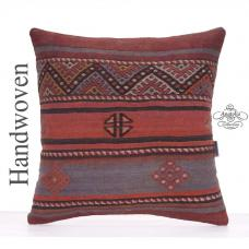 "Vintage Embroidered Cushion 20x20"" Anatolian Decorative Kilim Pillow"