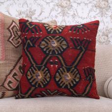 Tribal Red Kilim Cushion Cover 20x20 Ethnic Interior Decor Throw Pillow