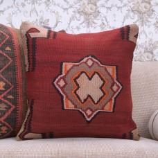 Anatolian Large Rug Pillow 20x20 Vintage Handmade Turkish Kilim Cushion