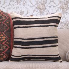 "Black Striped Large Kilim Pillowcase Handmade 20x20"" Vintage Rug Throw"