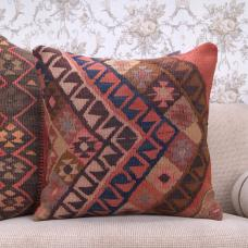 "Colorful Interior Decor Pillowcase 20"" Turkish Kilim Rug Throw Pillow"