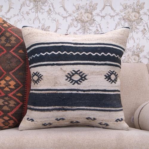 "Cottage Decor Striped Kilim Pillow Embroidered 20x20"" Vintage Rug Throw"