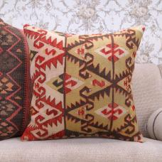 "Eclectic Oriental Kilim Pillowcase 20x20"" Large Designer Rug Cushion"