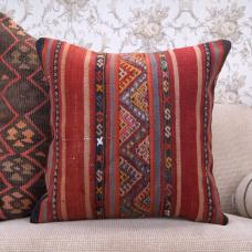 "Nomadic Vintage Kilim Pillowcase 20x20"" Embroidered Colorful Rug Pillow"