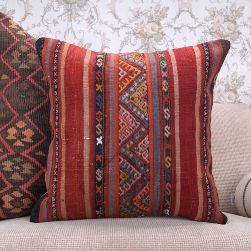 """Nomadic Vintage Kilim Pillowcase 20x20"""" Embroidered Colorful Rug Pillow"""