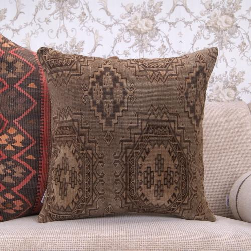 Tribal Geometric Rug Pillow 20x20 Earthy Vintage Decor Throw Pillowcase