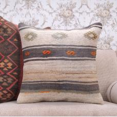 Vintage Embroidered Kilim Pillow Cottage Decor Accent 20x20 Rug Cushion