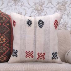 White Cottage Decor Accent Kilim Pillow Embroidered Large Rug Cushion