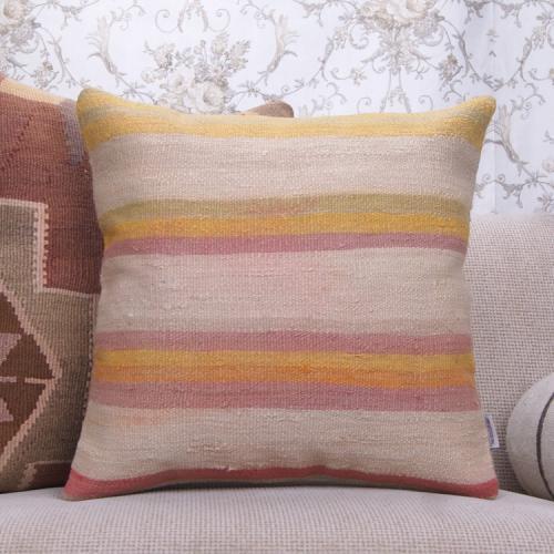 """Striped Colorful Kilim Pillow 20"""" Vintage Turkish Rug Throw Pillowcase"""