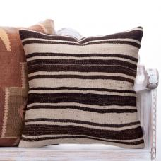 "Natural Striped Contemporary Kilim Pillow 20x20"" Brown & White Cushion"