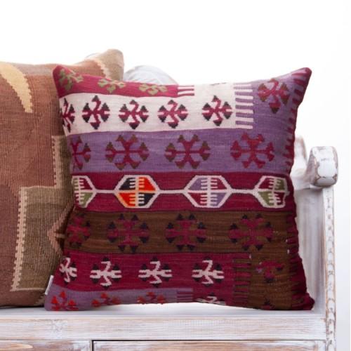 "Oriental Vintage Turkish Kilim Pillow 20"" Decorative Anatolian Cushion"