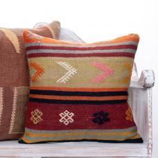 "Vintage Colorful Kilim Pillow 20x20"" Eclectic Interior Decor Sofa Throw"