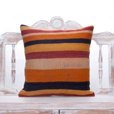 "Colorful Striped Kilim Pillow 20x20"" Vintage Turkish Handmade Cushion"